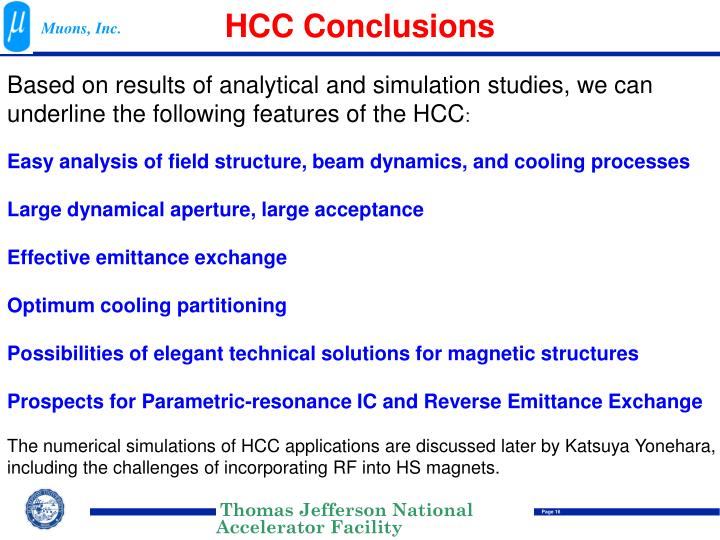 HCC Conclusions