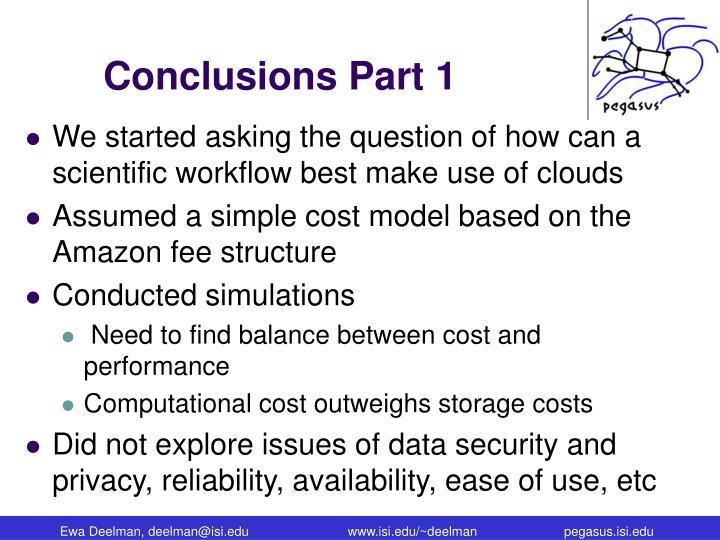 Conclusions Part 1