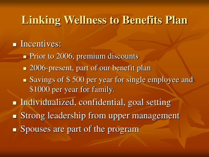 Linking Wellness to Benefits Plan