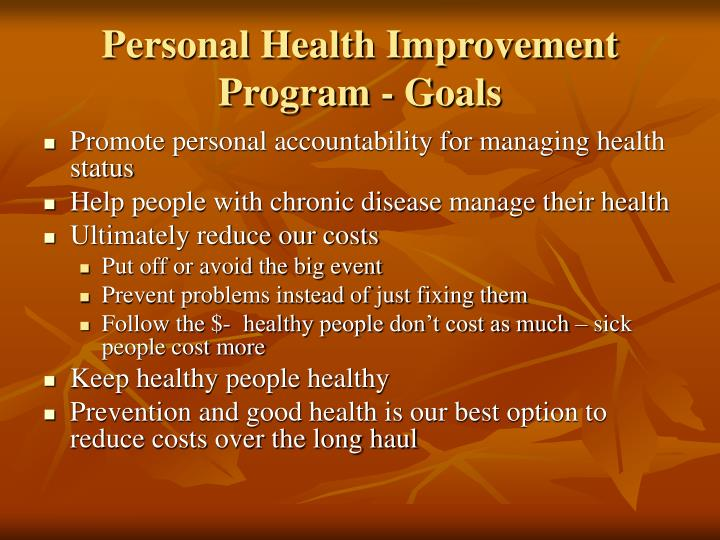 Personal health improvement program goals