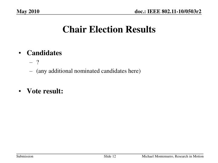 Chair Election Results