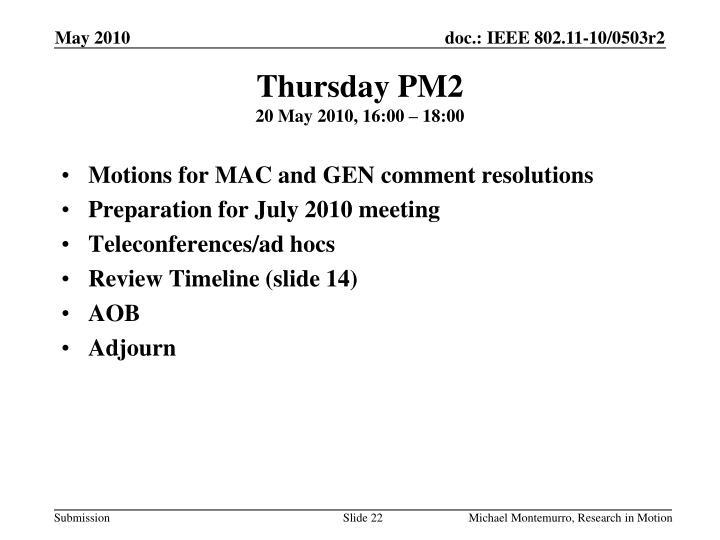 Thursday PM2