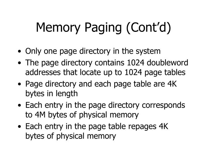 Memory Paging (Cont'd)