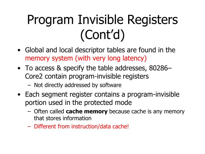 Program Invisible Registers (Cont'd)