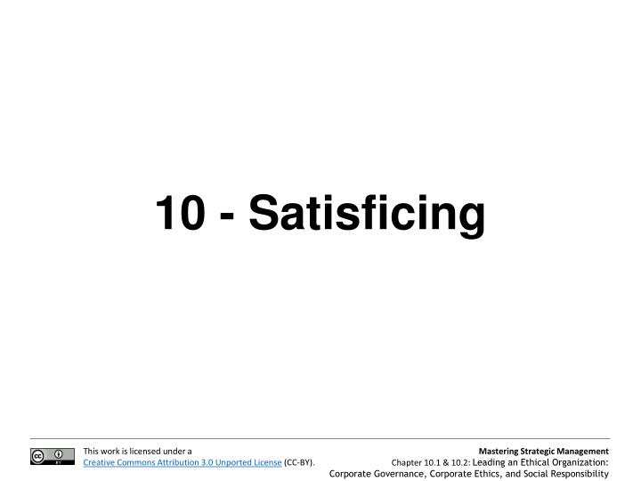 10 - Satisficing