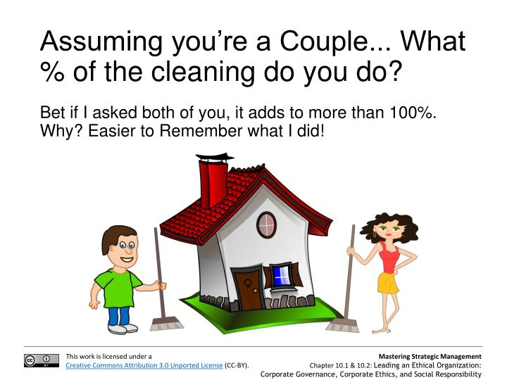 Assuming you're a Couple... What % of the cleaning do you do?