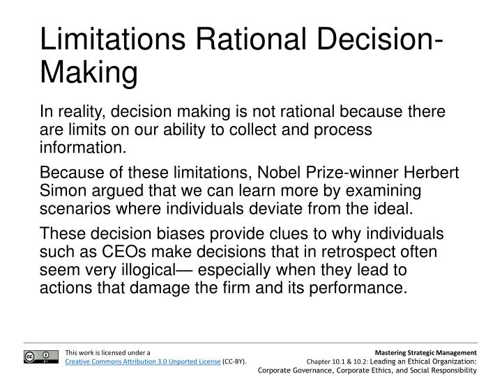 Limitations Rational Decision-Making