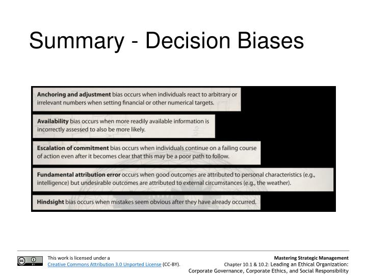 Summary - Decision Biases