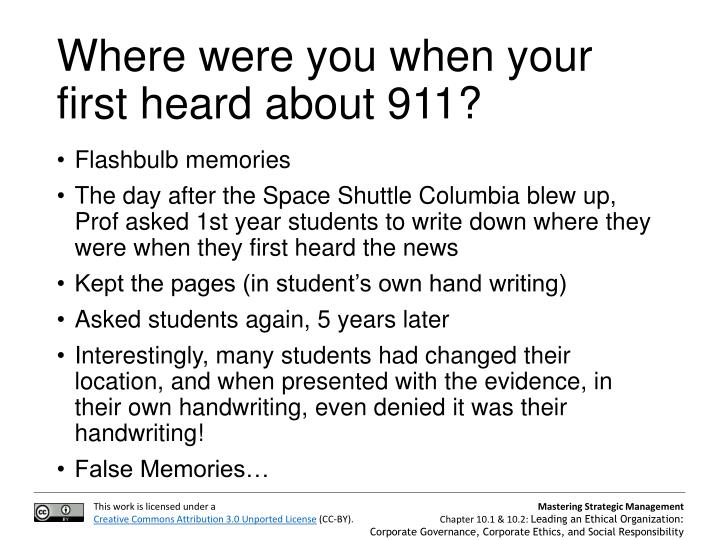 Where were you when your first heard about 911?