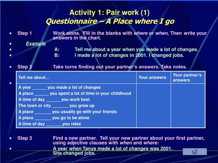 Activity 1: Pair work (1)