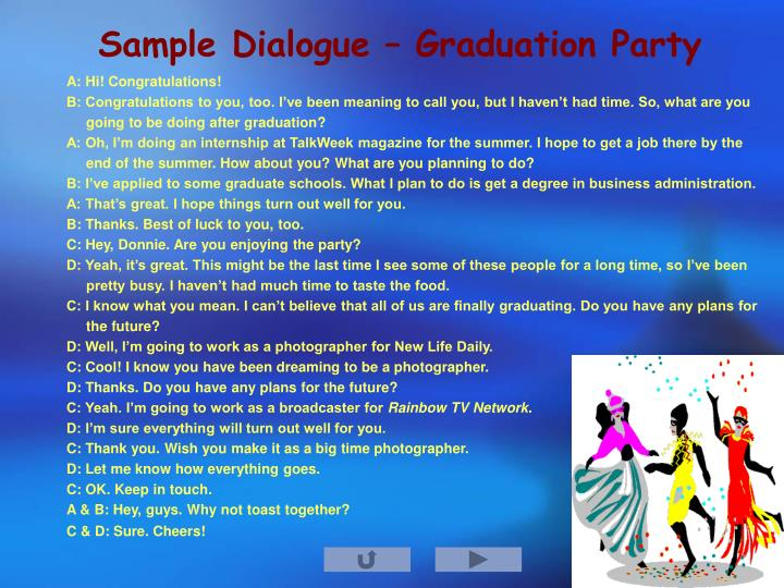 Sample Dialogue – Graduation Party