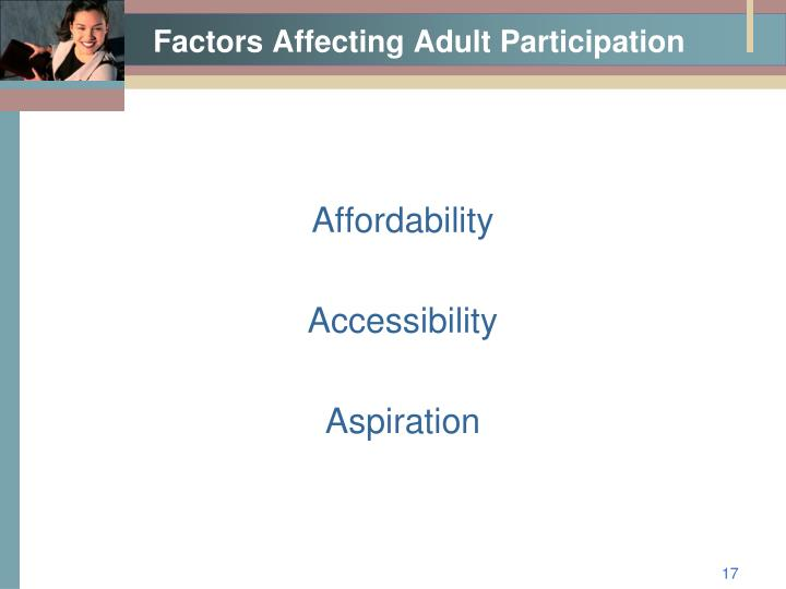 Factors Affecting Adult Participation