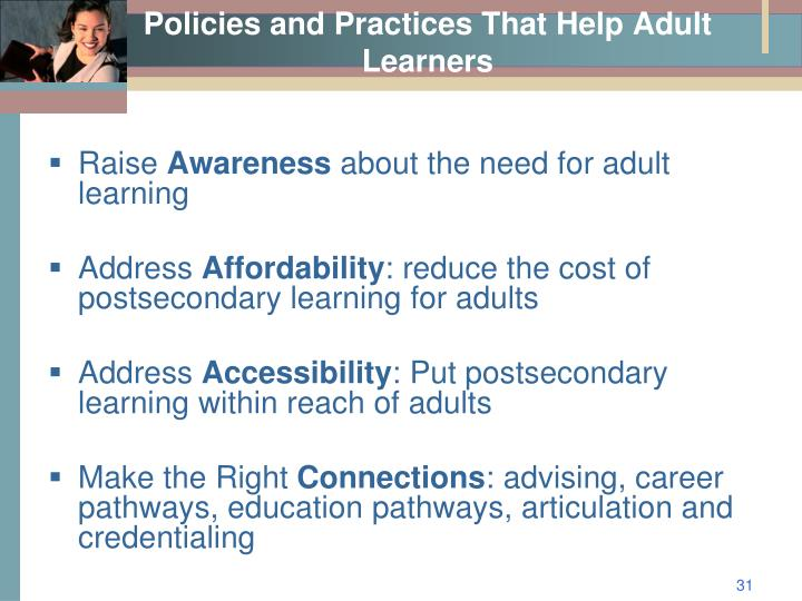 Policies and Practices That Help Adult Learners
