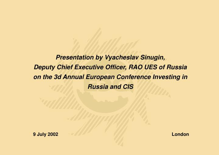 Presentation by Vyacheslav Sinugin,