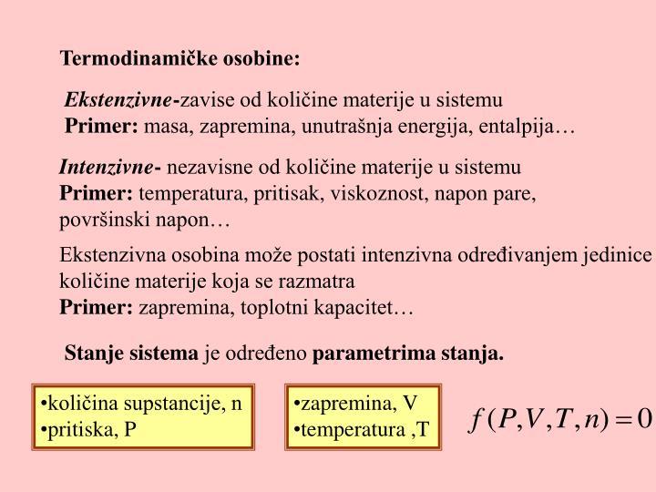 Termodinamike osobine: