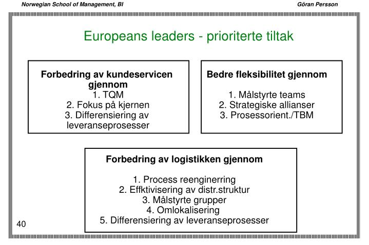 Europeans leaders - prioriterte tiltak