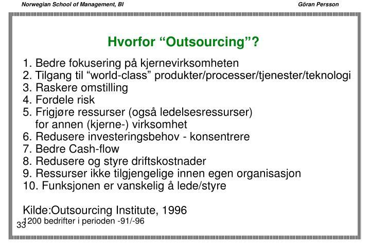 """Hvorfor """"Outsourcing""""?"""