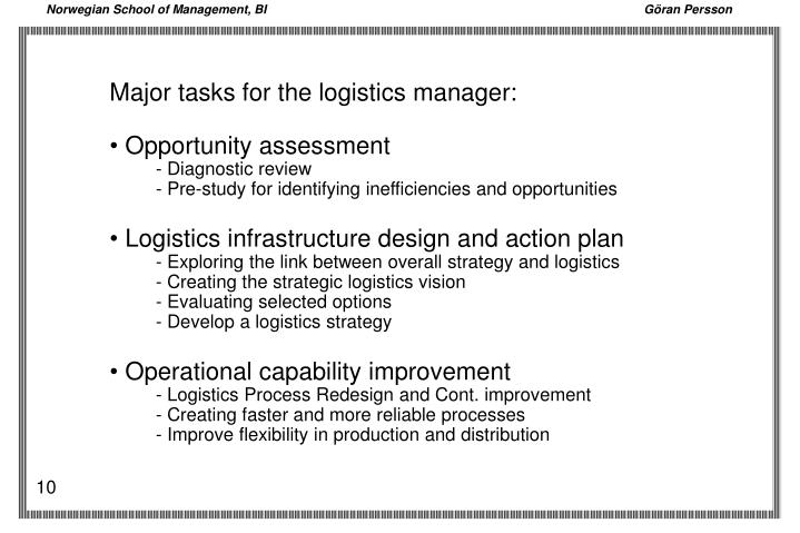 Major tasks for the logistics manager: