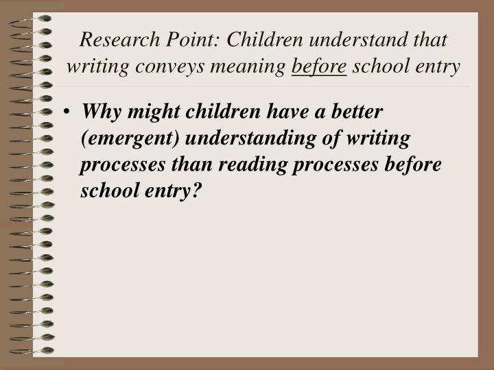 Research Point: Children understand that writing conveys meaning