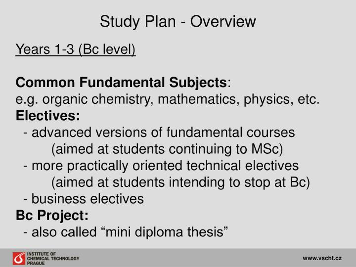 Study Plan - Overview