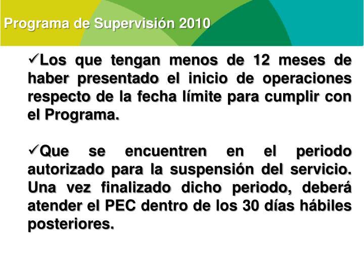 Programa de Supervisión 2010