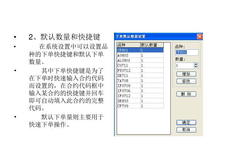 2、默认数量和快捷键