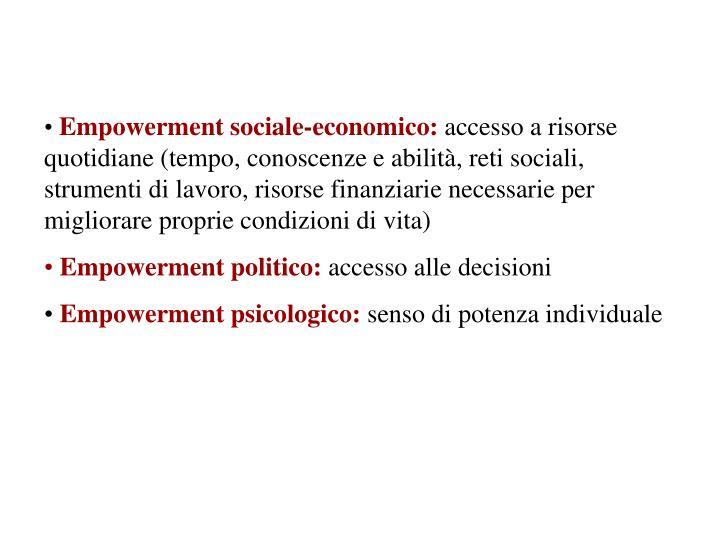 Empowerment sociale-economico: