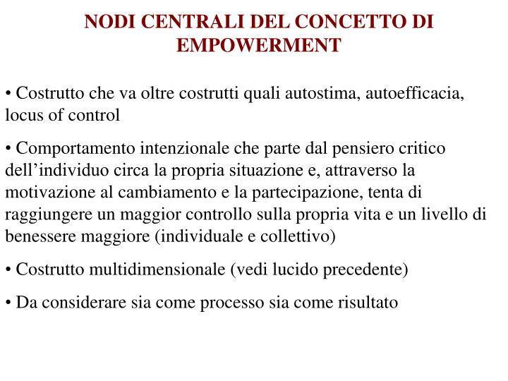 NODI CENTRALI DEL CONCETTO DI EMPOWERMENT