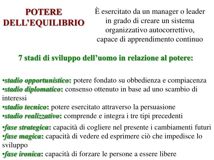 POTERE DELL'EQUILIBRIO