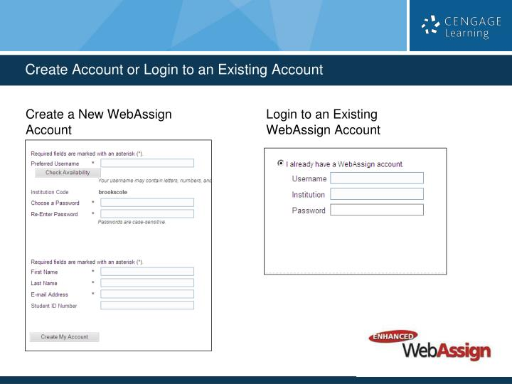 Create Account or Login to an Existing Account