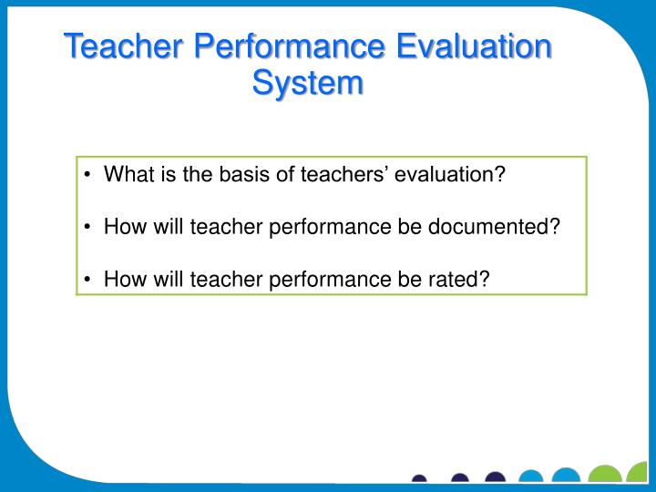 Teacher Performance Evaluation System