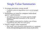 single value summaries