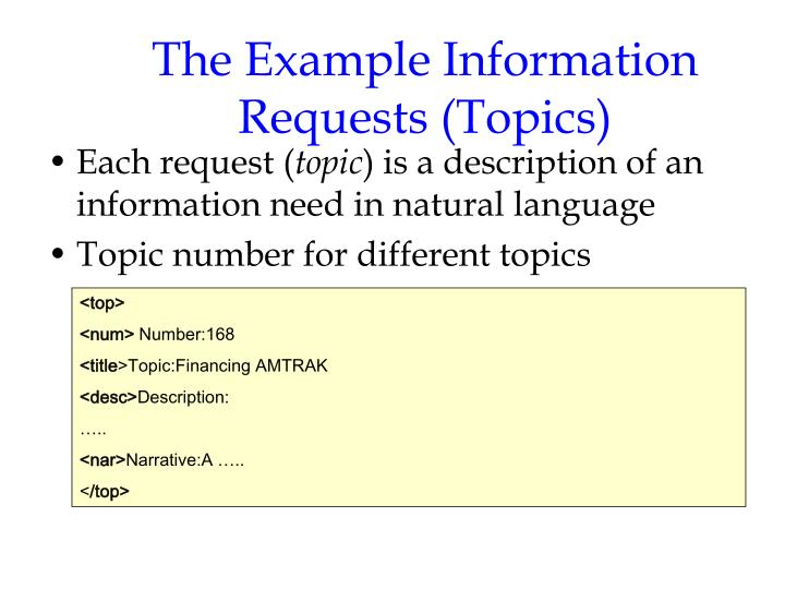 The Example Information Requests (Topics)