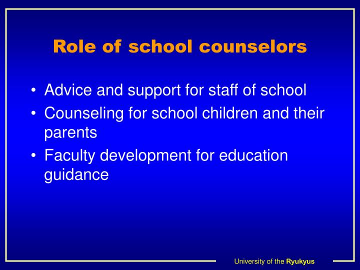 Role of school counselors