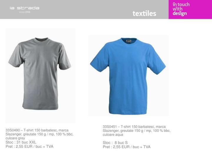 33S0451 – T-shirt 150 barbatesc, marca Slazenger, greutate 150 g / mp, 100 % bbc, culoare aqua