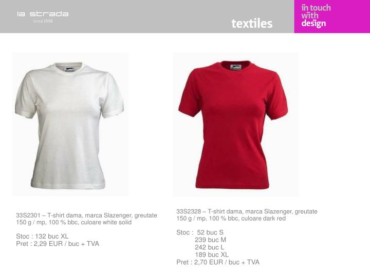 33S2328 – T-shirt dama, marca Slazenger, greutate 150 g / mp, 100 % bbc, culoare dark red