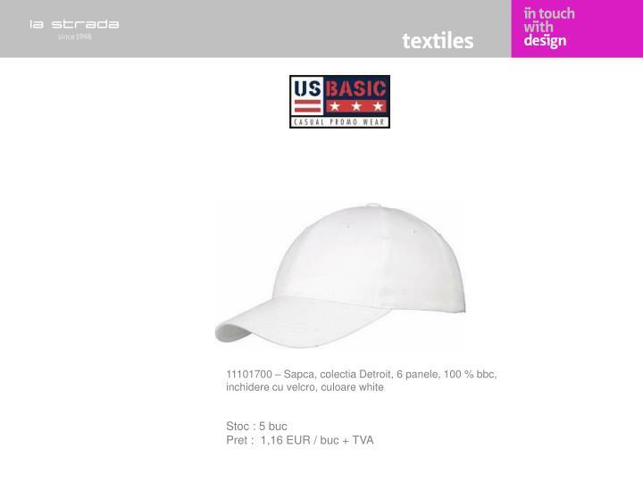 11101700 – Sapca, colectia Detroit, 6 panele, 100 % bbc, inchidere cu velcro, culoare white
