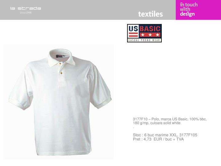3177F10 – Polo, marca US Basic, 100% bbc, 180 g/mp, culoare solid white