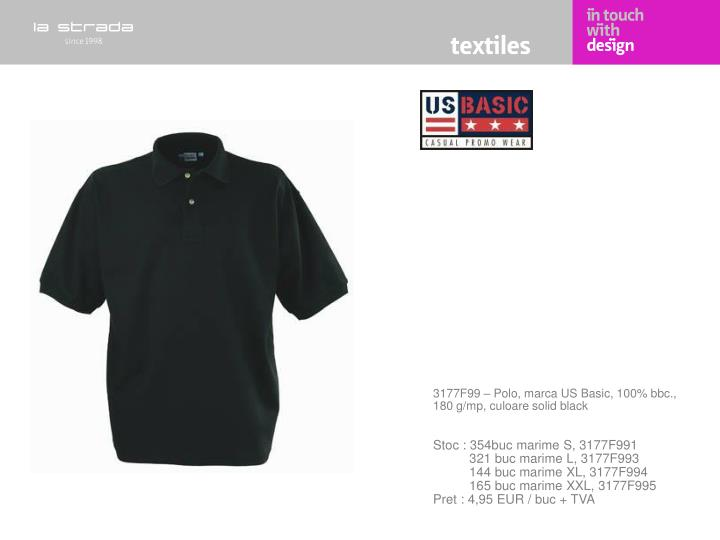 3177F99 – Polo, marca US Basic, 100% bbc., 180 g/mp, culoare solid black