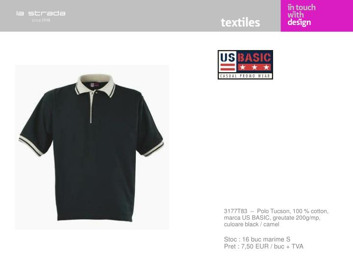 3177T83  –  Polo Tucson, 100 % cotton, marca US BASIC, greutate 200g/mp, culoare black / camel