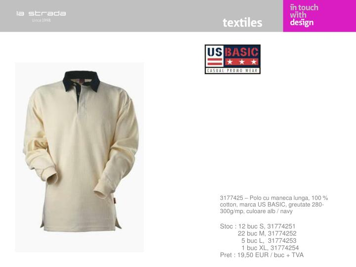 3177425 – Polo cu maneca lunga, 100 % cotton, marca US BASIC, greutate 280-300g/mp, culoare alb / navy