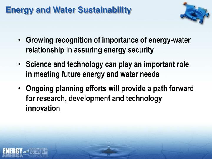 Energy and Water Sustainability