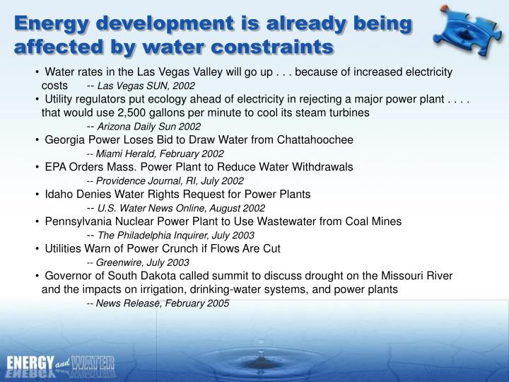 Energy development is already being affected by water constraints