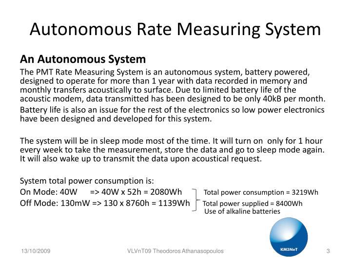 Autonomous Rate Measuring System