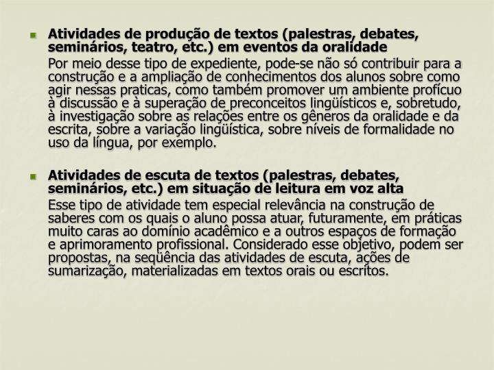 Atividades de produção de textos (palestras, debates, seminários, teatro, etc.) em eventos da oralidade