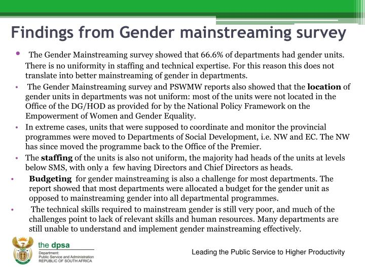 Findings from Gender mainstreaming survey