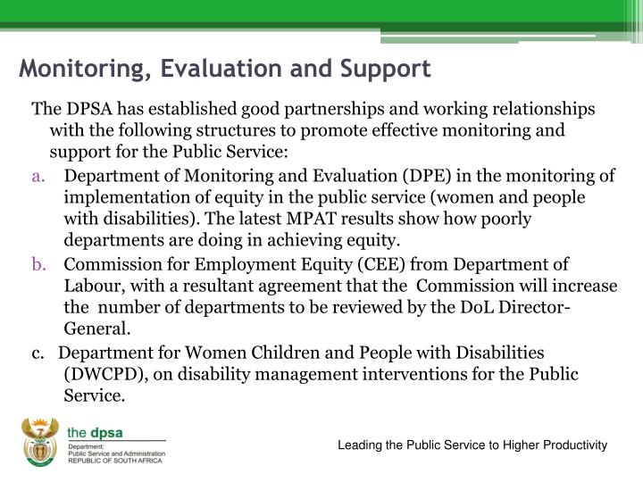 Monitoring, Evaluation and Support