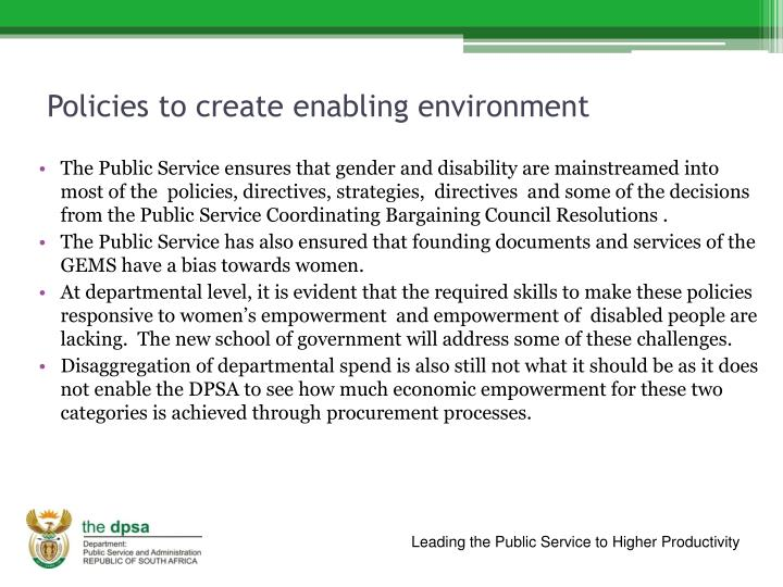 Policies to create enabling environment