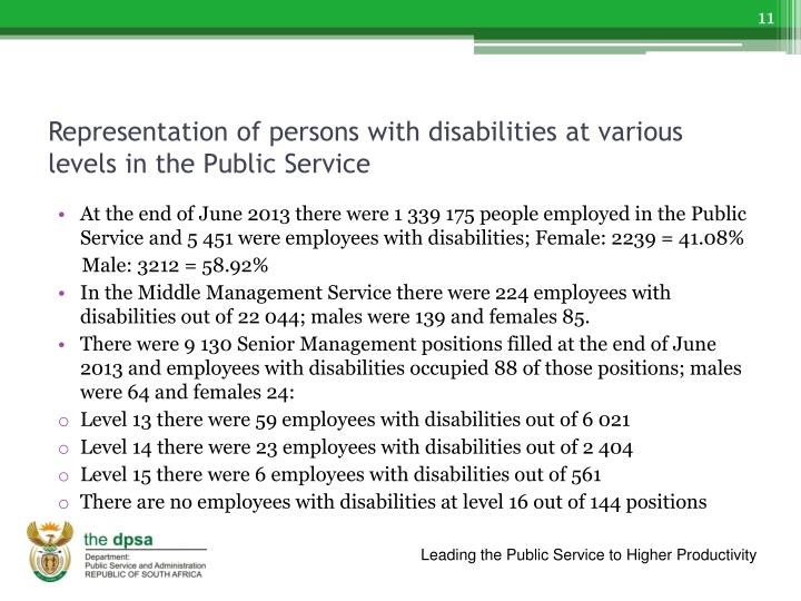 Representation of persons with disabilities at various levels in the Public Service