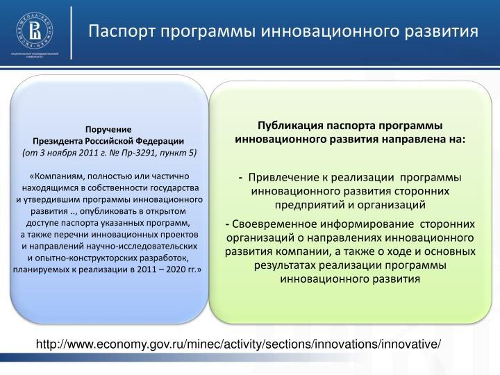 Паспорт программы инновационного развития